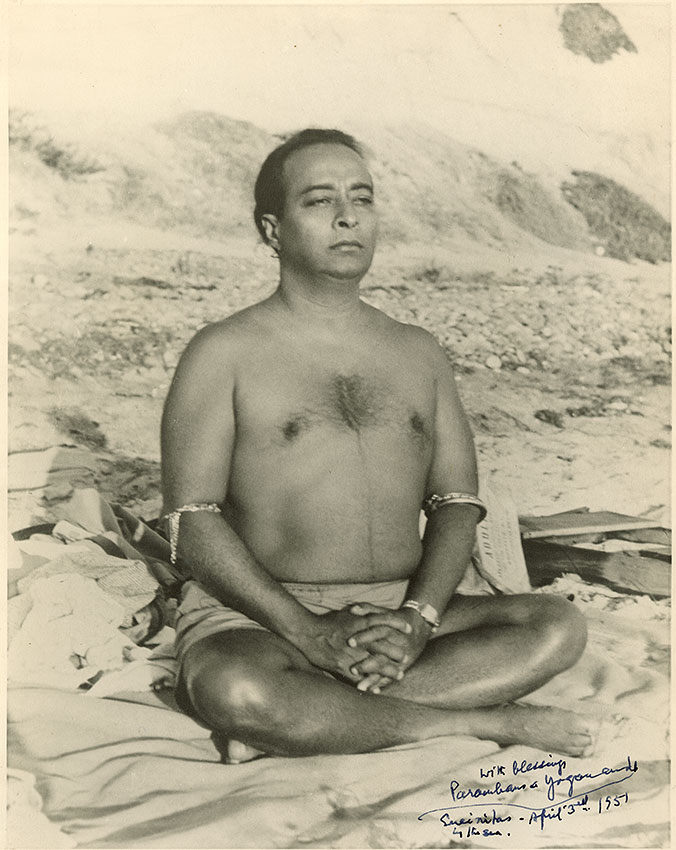 Paramhansa Yogananda meditating in Encinitas, wearing astrological bangle prescribed by his guru Sri Yuktweswar